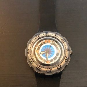 Mid sized Swatch dive watch with rotating bezel